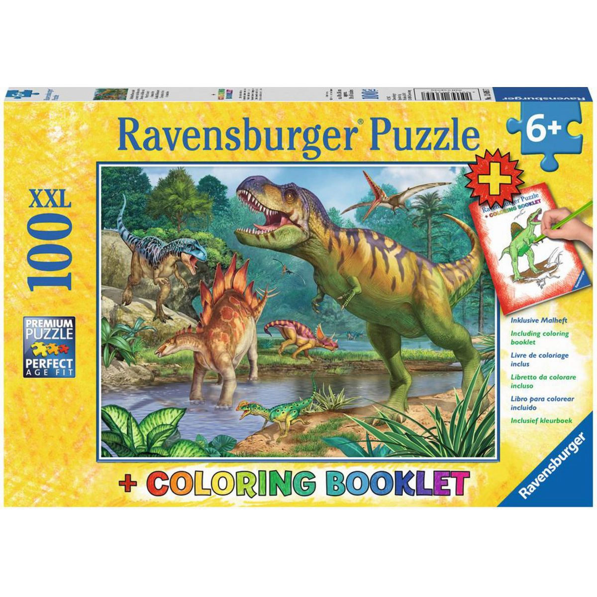 Ravensburger Puzzle Premium Svet dinosaurov 100XXL dielikov + Coloring Booklet