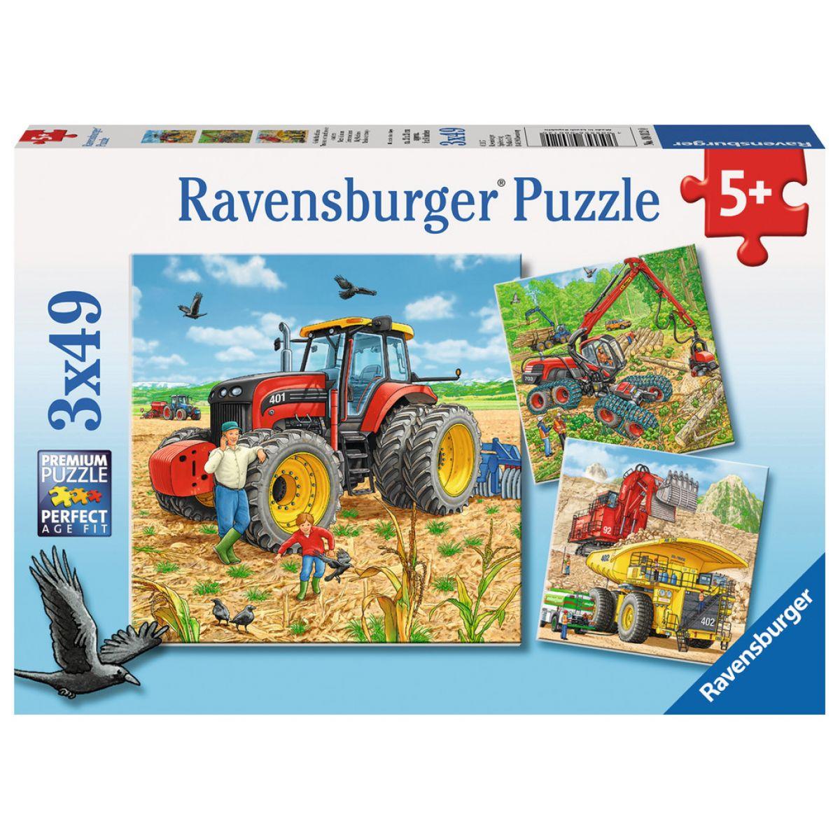 Ravensburger Puzzle Veľké pracovné stroje 3 x 49 dielikov