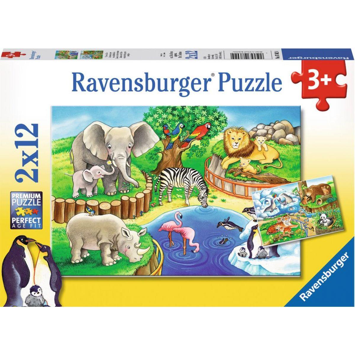 Ravensburger Puzzle Zvieratá v ZOO 2 x 12 dielikov