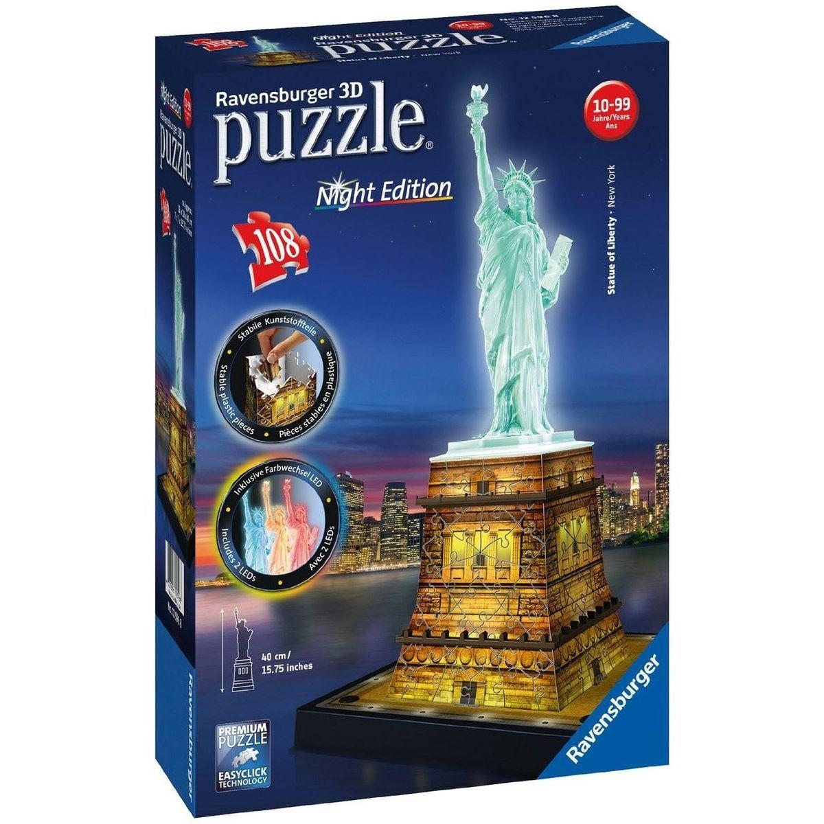 Ravensburger 3D Puzzle svietiace Socha Slobody 108 dielikov