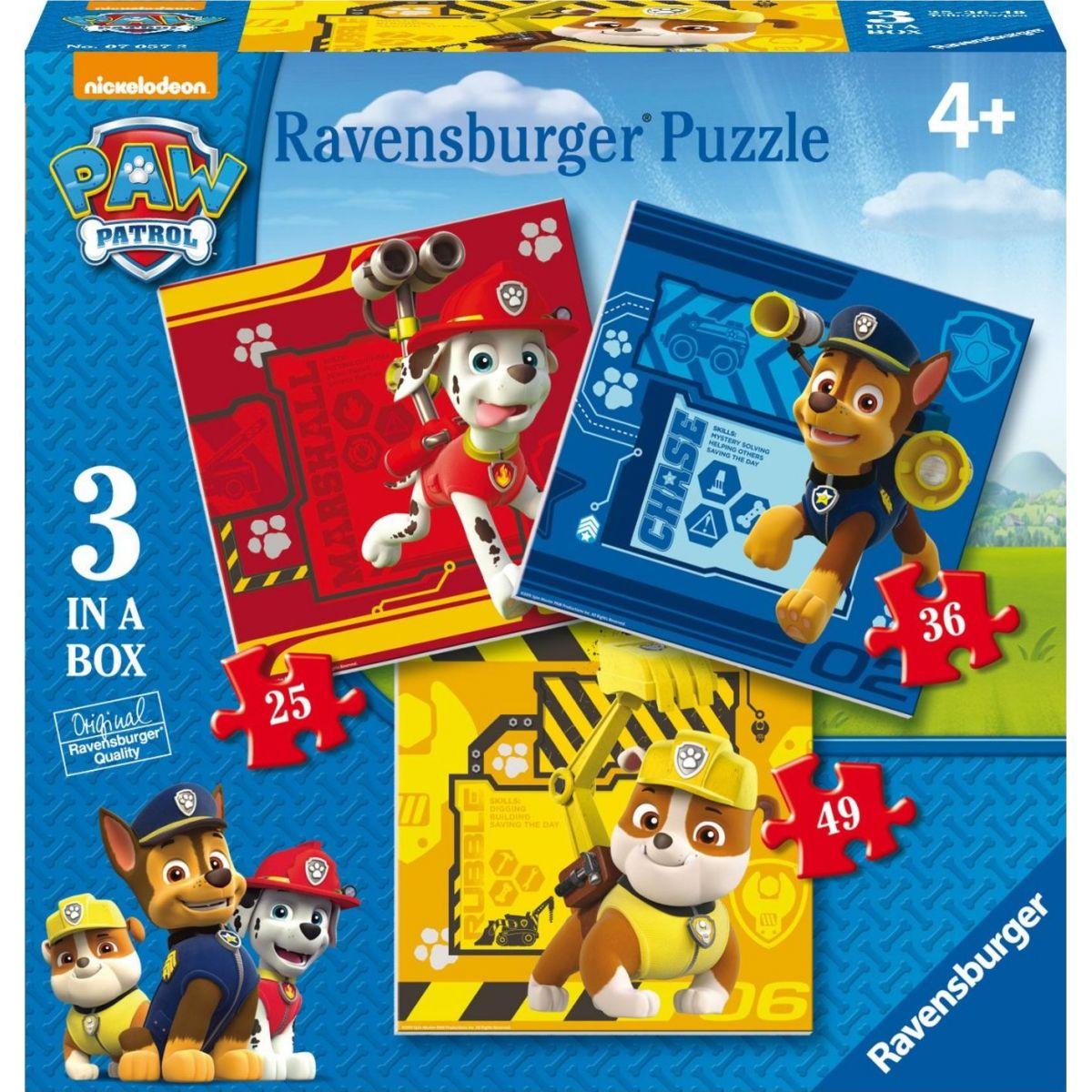 Ravensburger Tlapková Patrola Rubble, Marshall & Chase puzzle 25,36,49 dielikov