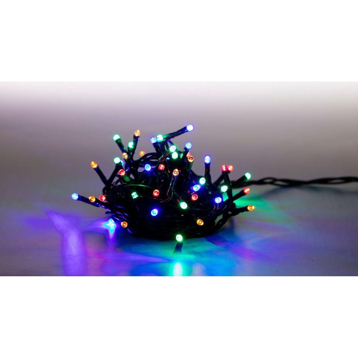 Reťaz svetelný 100 LED 5 m farebná zelený kábel 8 funkcií