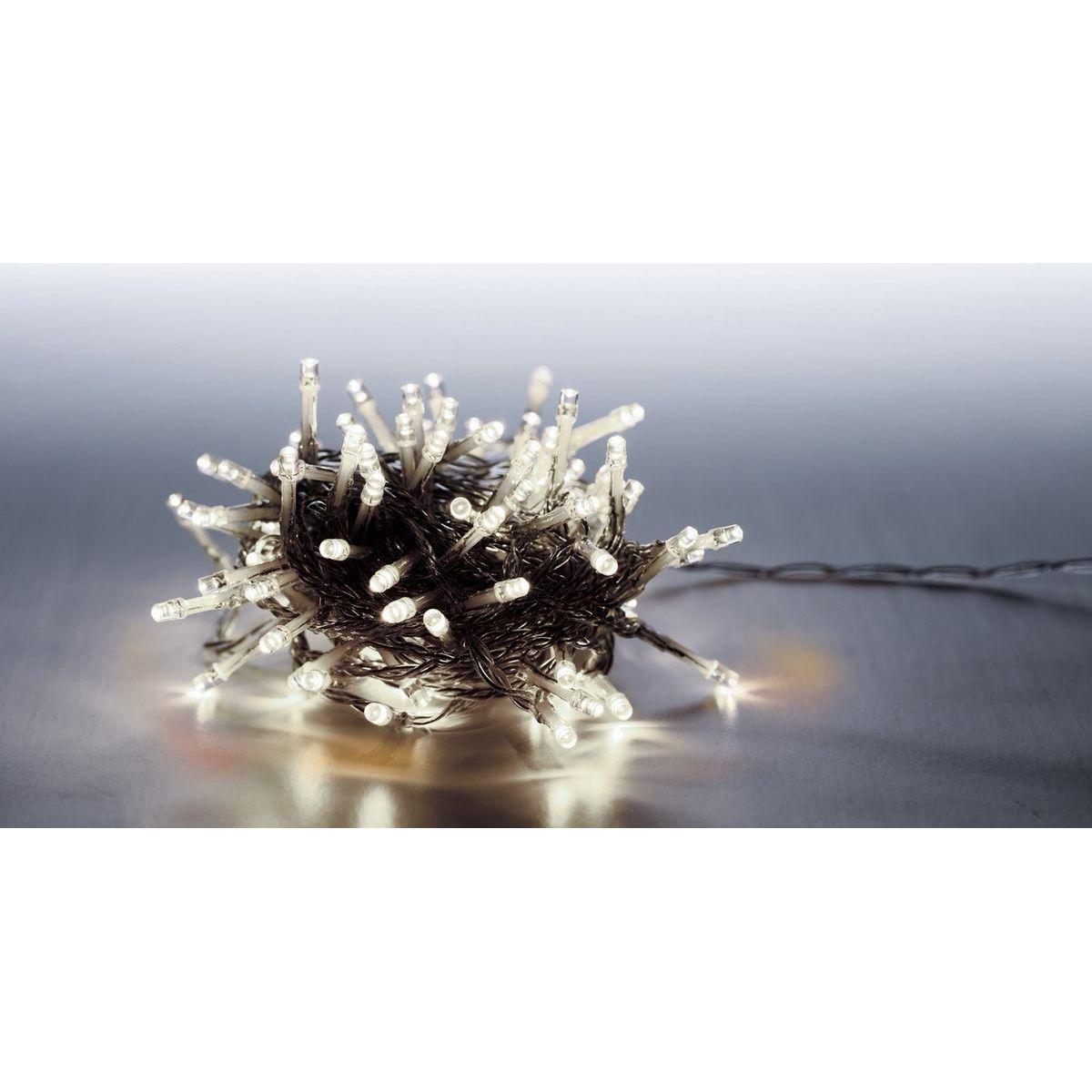 Reťaz svetelný 100 LED 5 m studená biela transparent kábel 8 funkcií