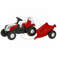 Rolly Toys 012510 - Šliapací traktor Rolly Kid Steyer s vlečkou - červený