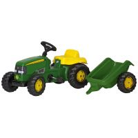 Rolly Toys 012190 - Šliapací traktor Rolly Kid J.Deere s vlečkou Zelený