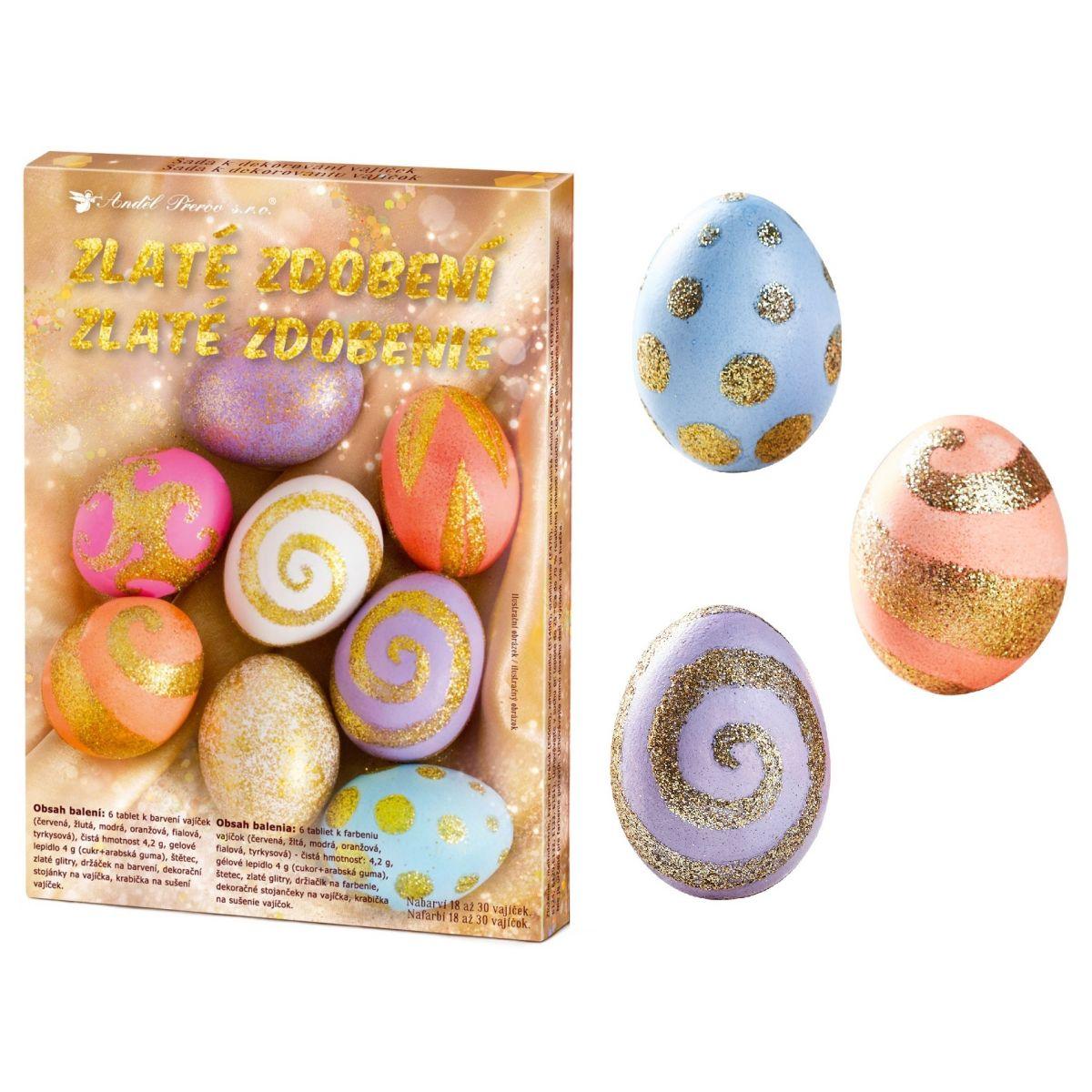Sada k dekorovanie vajíčok - zlaté zdobenie