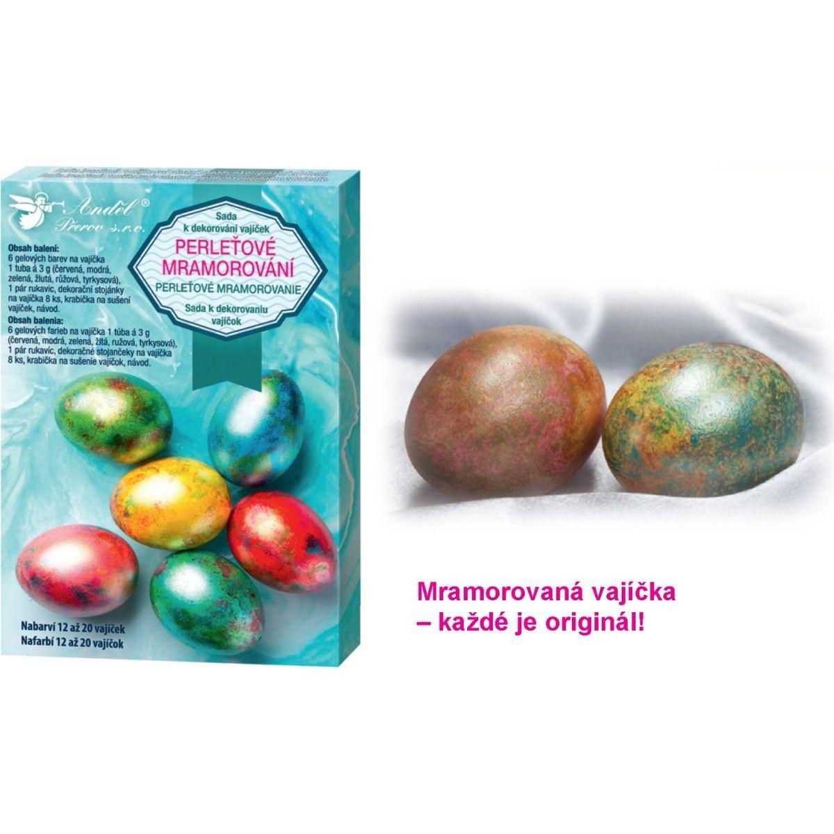 Sada k dekorovanie vajíčok - perleťový mramor