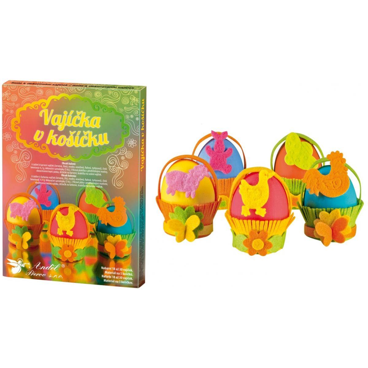 Sada k dekorovanie vajíčok - vajíčka v košíčku