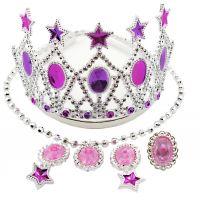 Sada krásy s plastovou korunkou a náhrdelníkom s náušnicami karneval