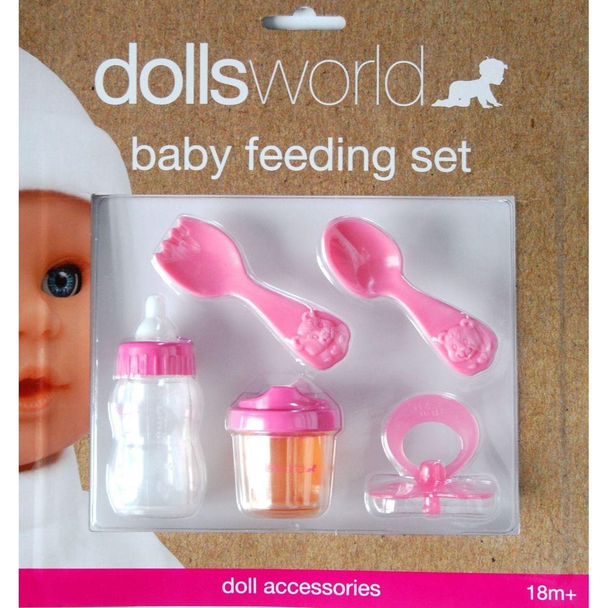 Sada na kŕmenie pre bábiky 2x fľašu, cumlík, lyžica, vidlička