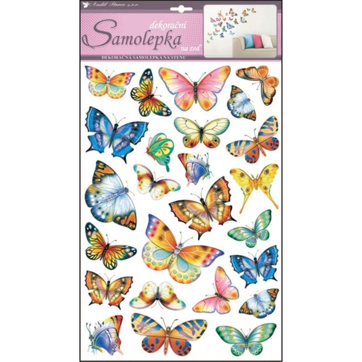 Samolepky na stenu farební motýle 48 x 29 cm (142)