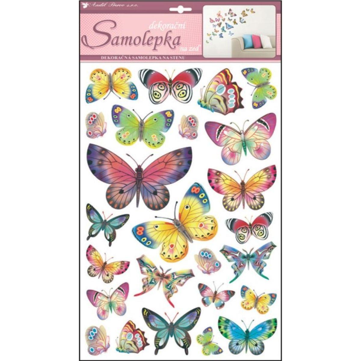 Samolepky na stenu farební motýle 48 x 29 cm
