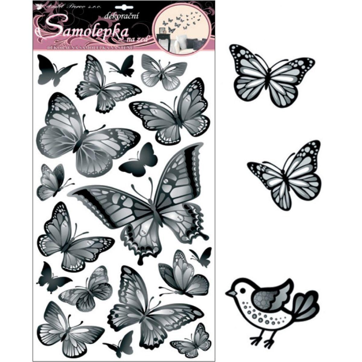 Samolepky na stenu čiernošedej motýle 60x32cm