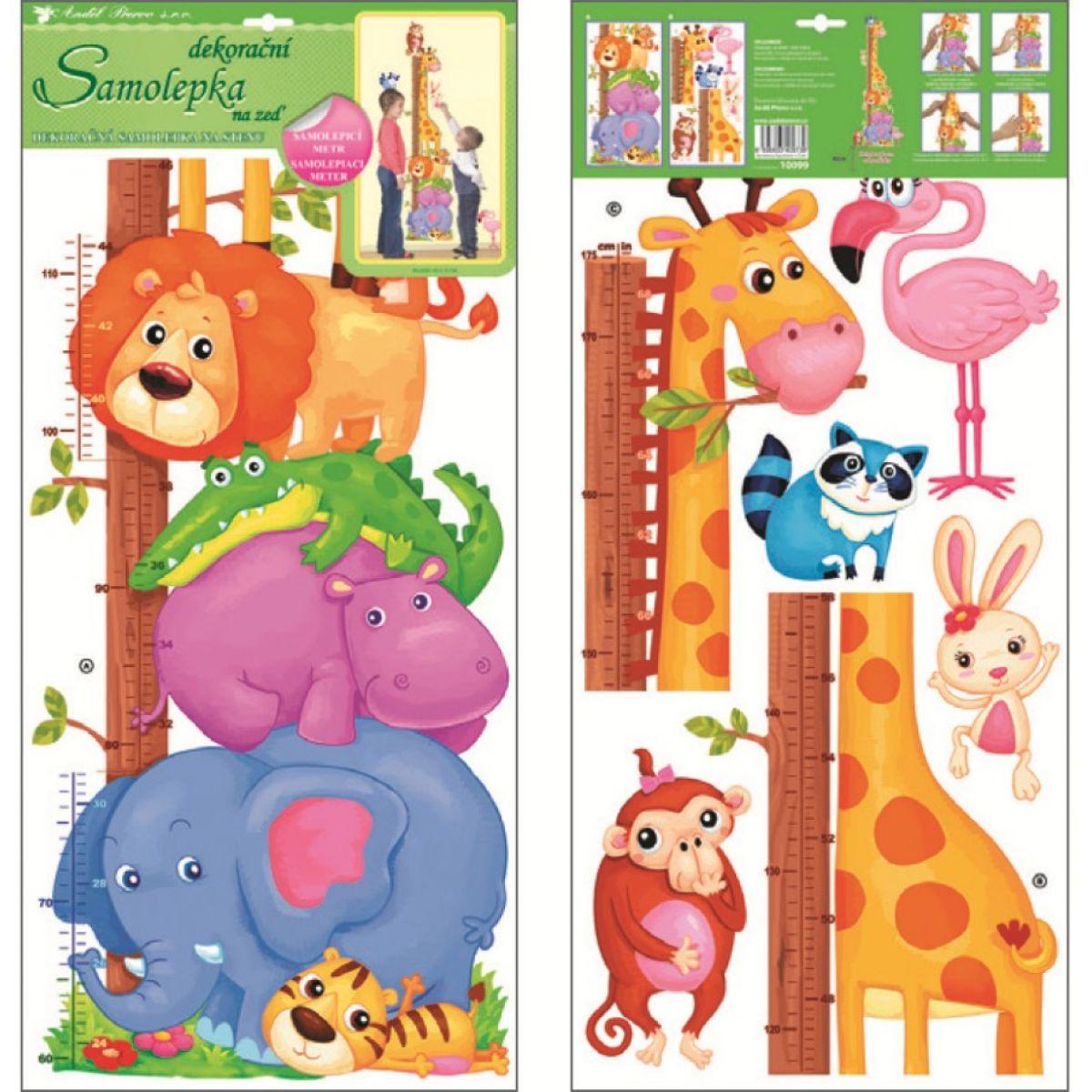 Samolepky na stenu detský meter zvieratka v zoo 120x32cm