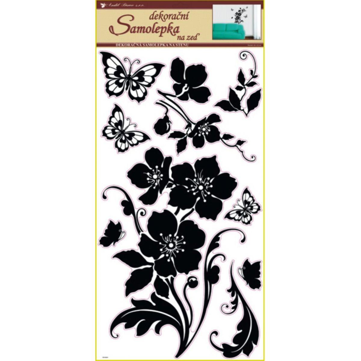 Samolepky na stenu kvetina s motýľmi čierna, 60x32cm
