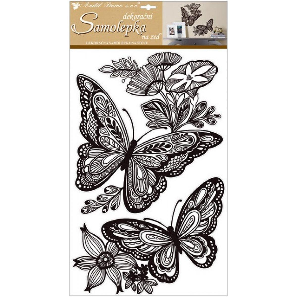 Samolepky na stenu mandala motýle s glitrami 60x32 cm