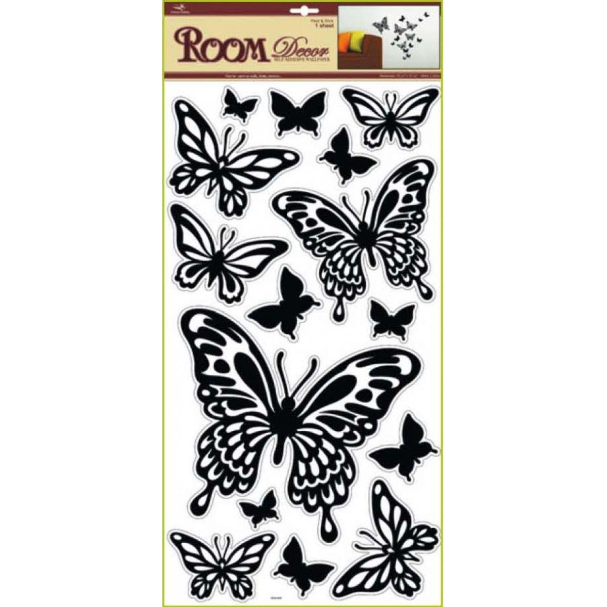 Samolepky na stenu motýle čierni, 60x32cm