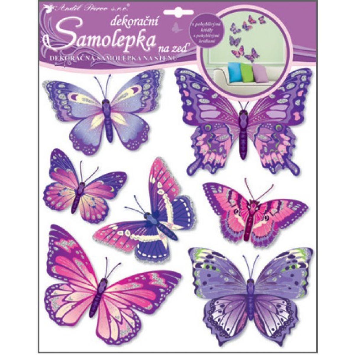 Samolepky na stenu motýle fialovejú 30,5x30,5 cm