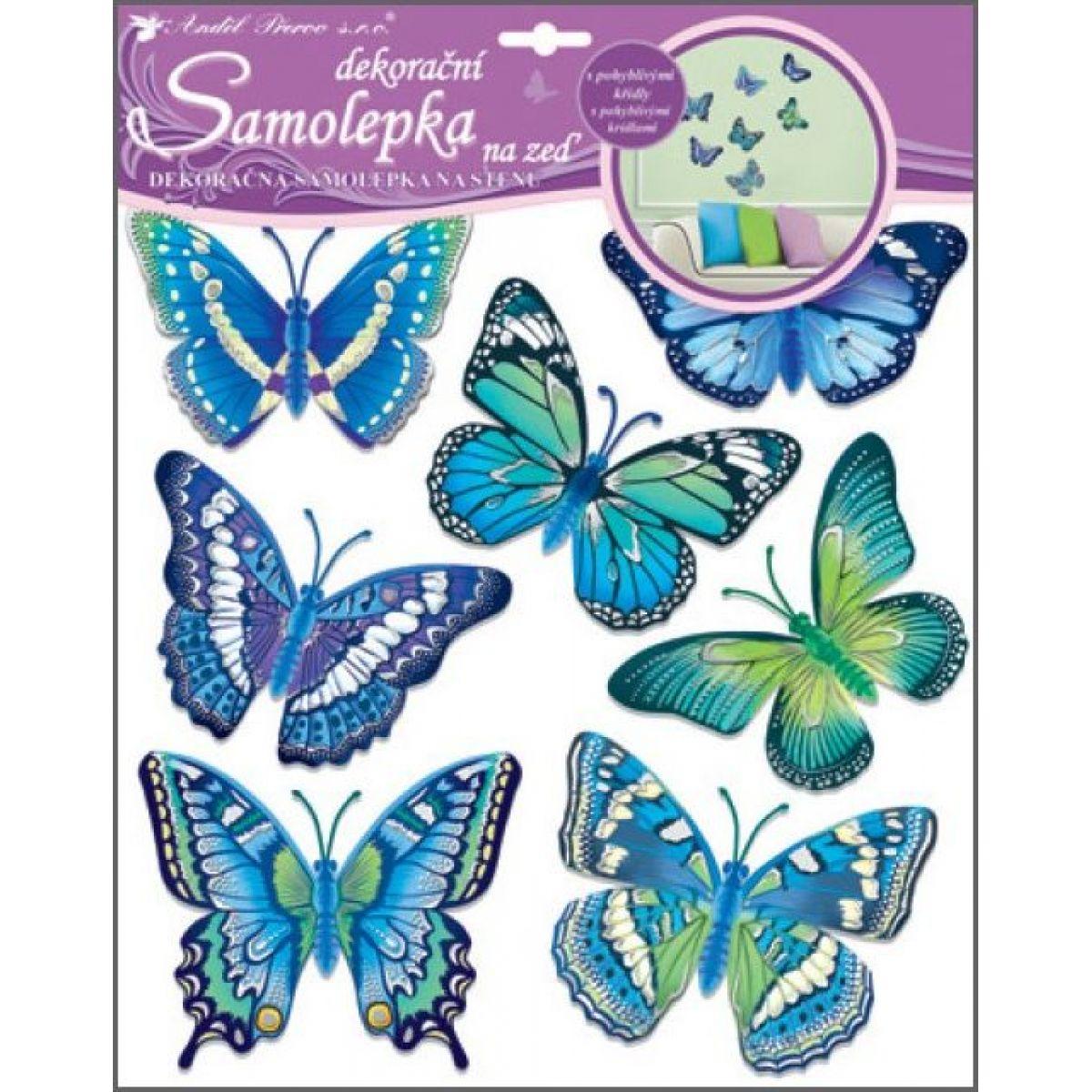 Samolepky na stenu motýle modrí 30,5 x 30,5 cm