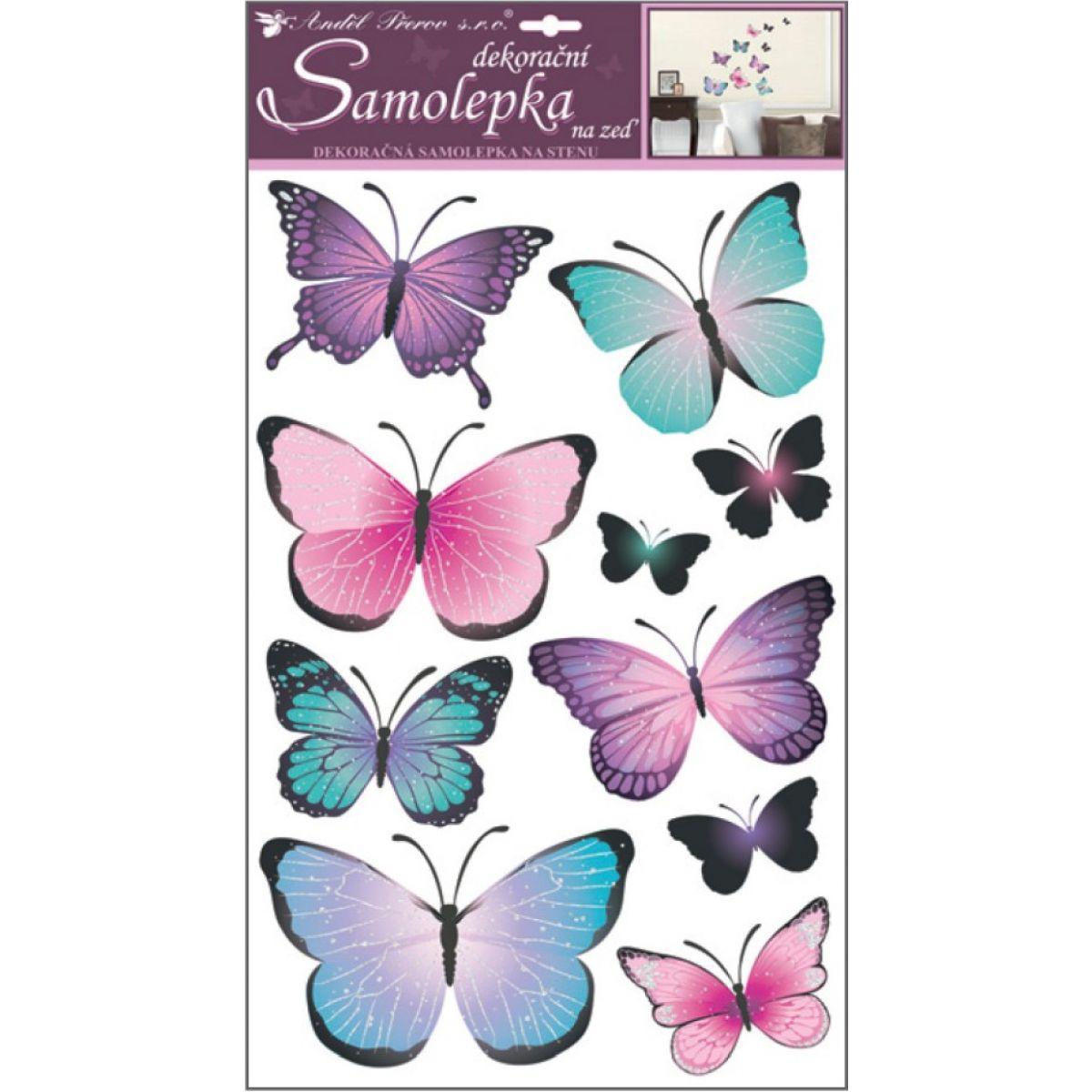 Samolepky na stenu motýle modrofialoví 50 x 32 cm