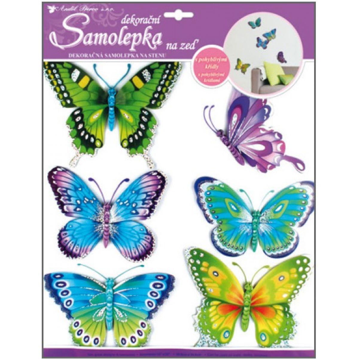 Samolepky na stenu motýle modrozelený s pohyblivými krídlami 30,5x30,5cm