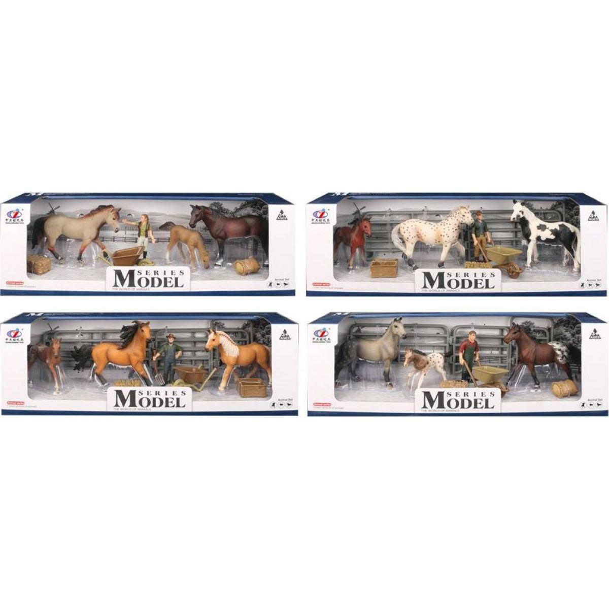 Series Model Svet zvierat, 2 kone, žriebä a figúrka