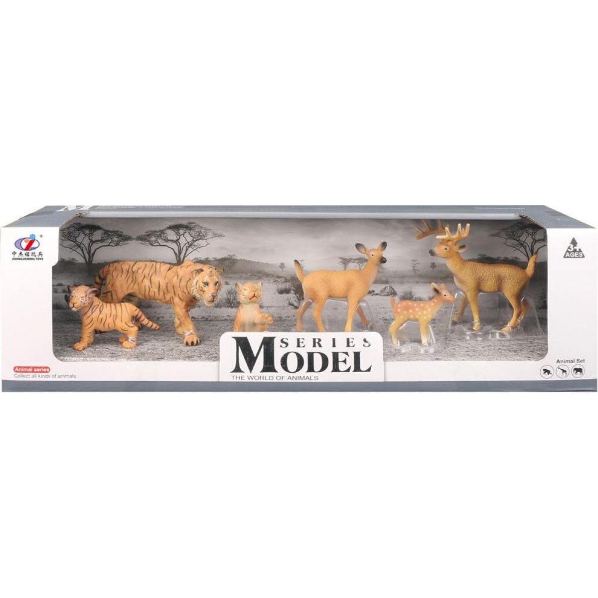 Series Model Svet zvierat rodina tigrov a srnečka, 6 zvieratiek