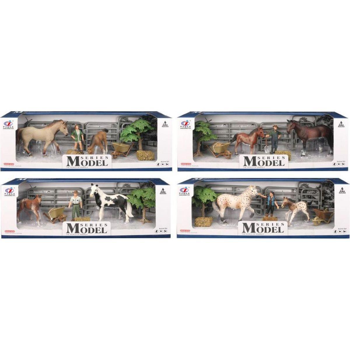 Series Model Svet zvierat sada 2 s figúrkou, koňom a žriebätkom