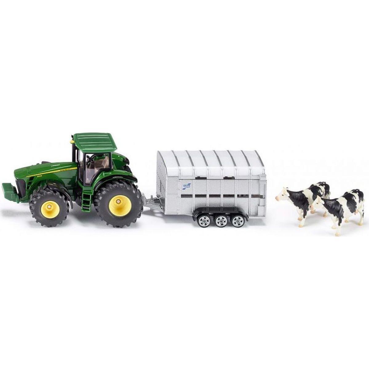 Siku Super Traktor John Deere s přívěsem pro přepravu dobytka vč. 2 krav 1:50