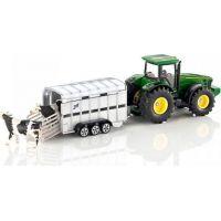 Siku Super Traktor John Deere s přívěsem pro přepravu dobytka vč. 2 krav 1:50 2