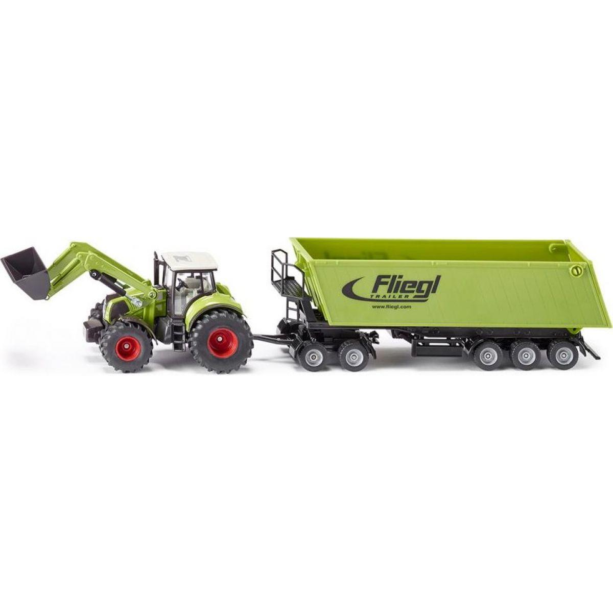 SIKU Traktor s p červená ným nakladačom a prívesom 1:50