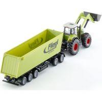 SIKU Traktor s p červená ným nakladačom a prívesom 1:50 2