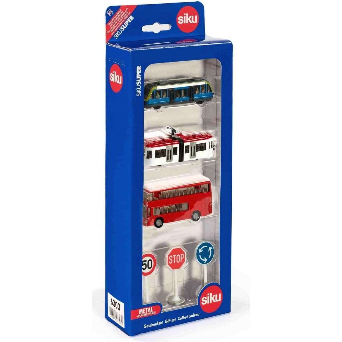 Siku Super 6303 Set mestské vozidlá a značky červený autobus