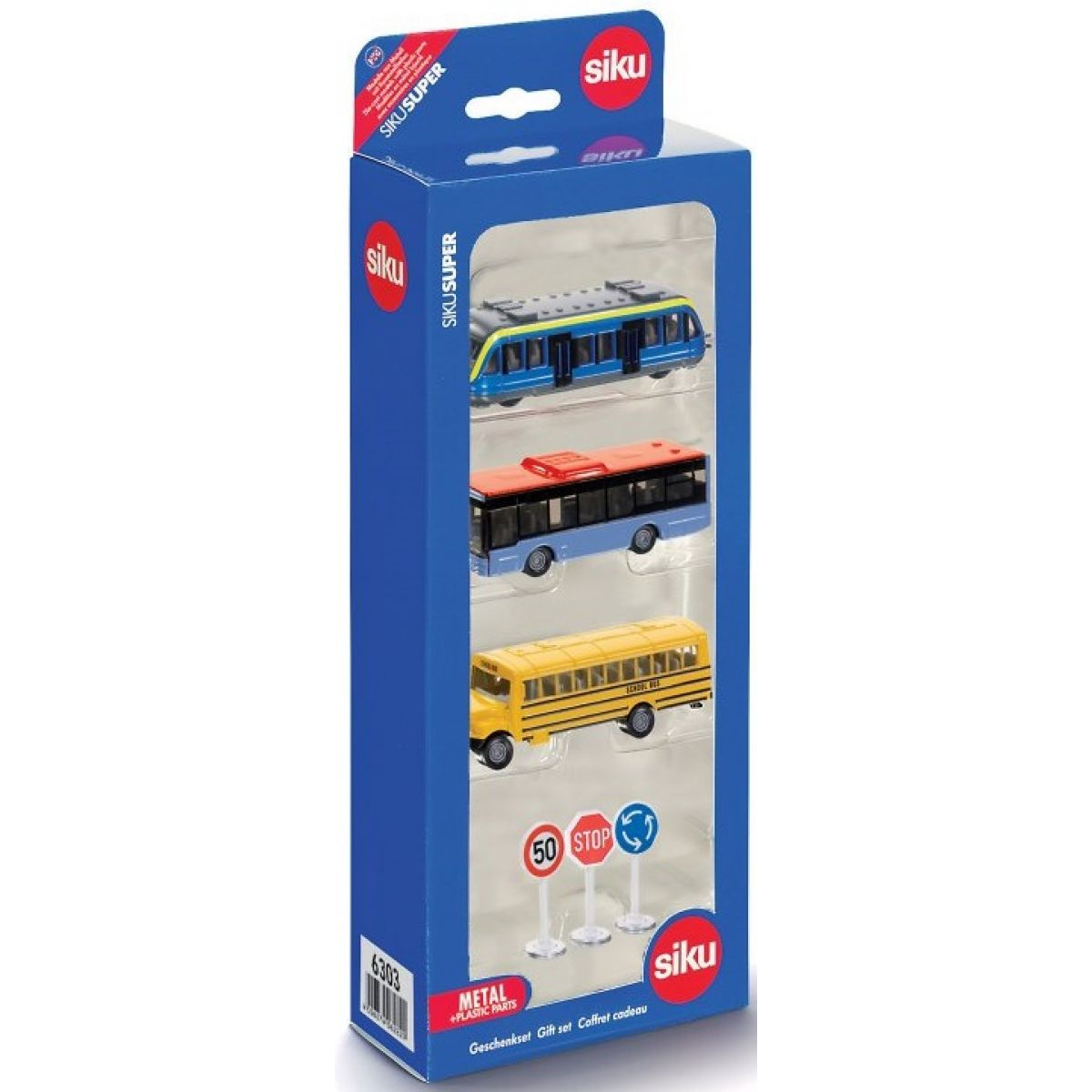 Siku Super 6303 Set městská vozidla a značky žlutý autobus