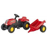 Rolly Toys Šliapací traktor Rolly Kid s vlečkou červený