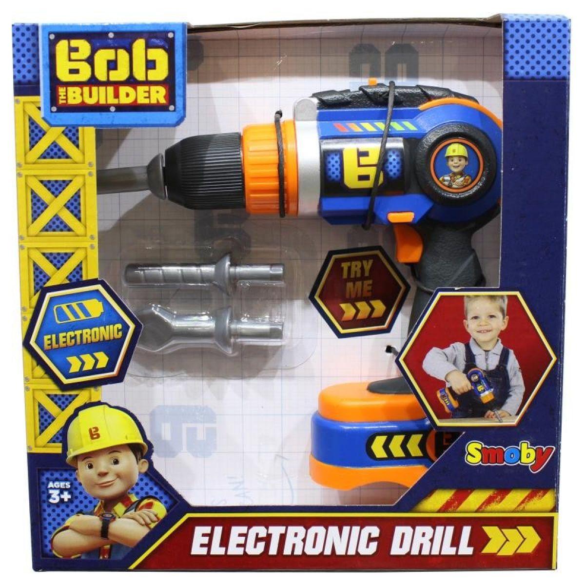 Smoby Detská elektronická vŕtačka Staviteľ Bob s 3 nadstavcami