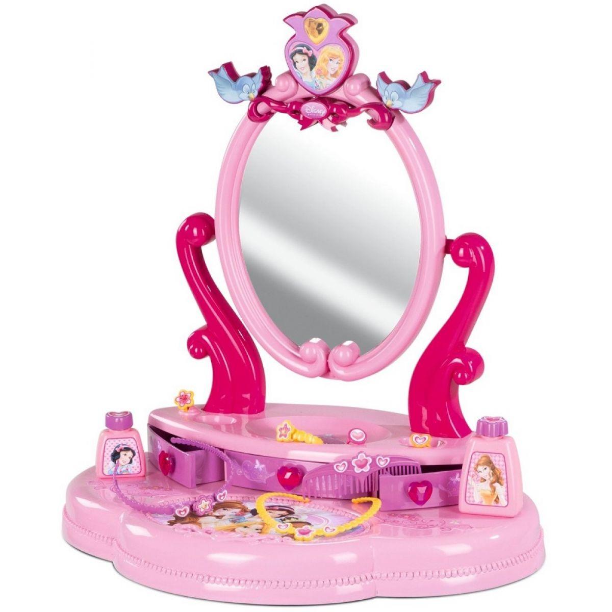 SMOBY 24236 kozmetický stolík s otváracou zásuvkou Disney Princezné a 5 doplnkami