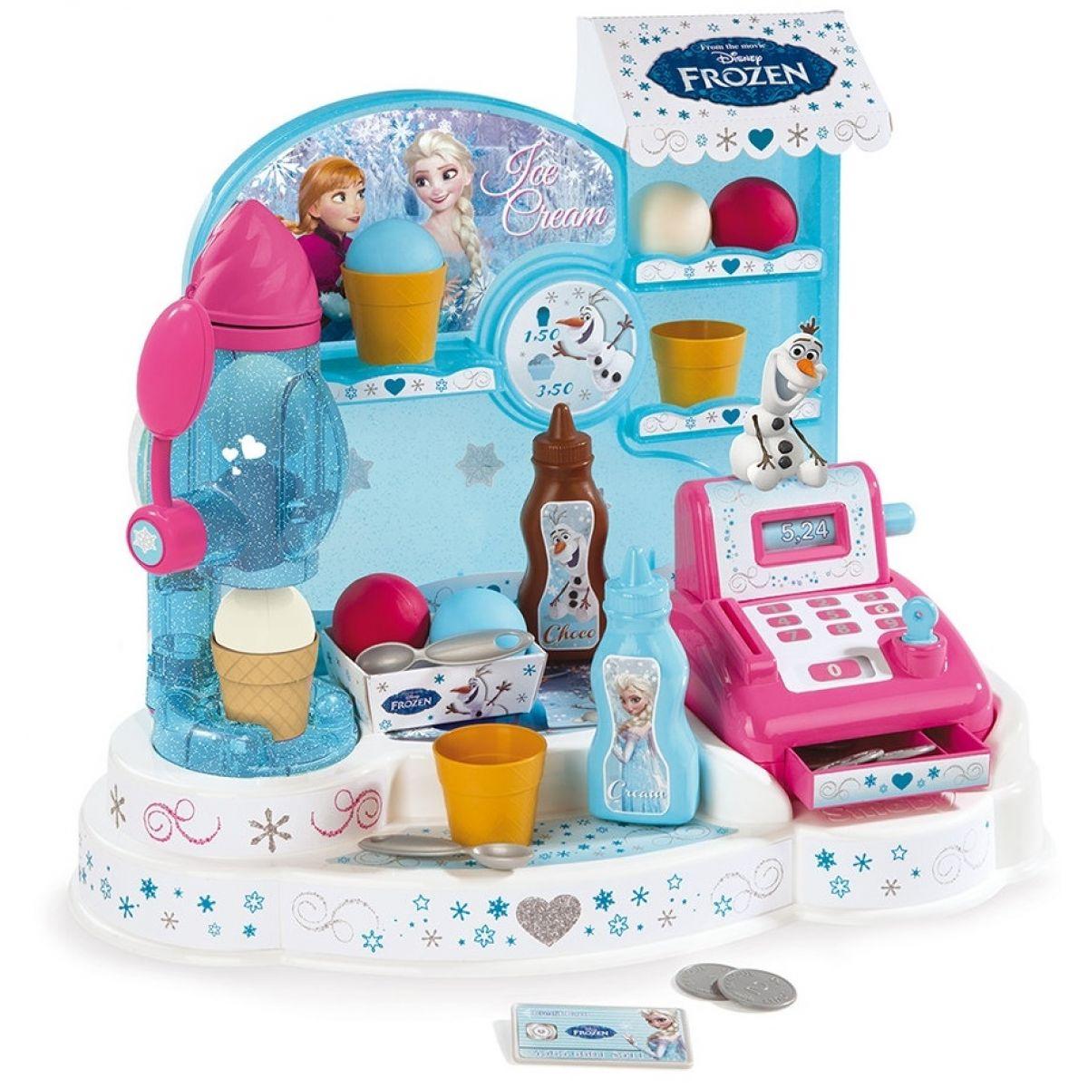 SMOBY 350401 Frozen trblietajúca sa zmrzlináreň s koláčmi pokladňou a dávkovačom zmrzliny + 22 doplnkov