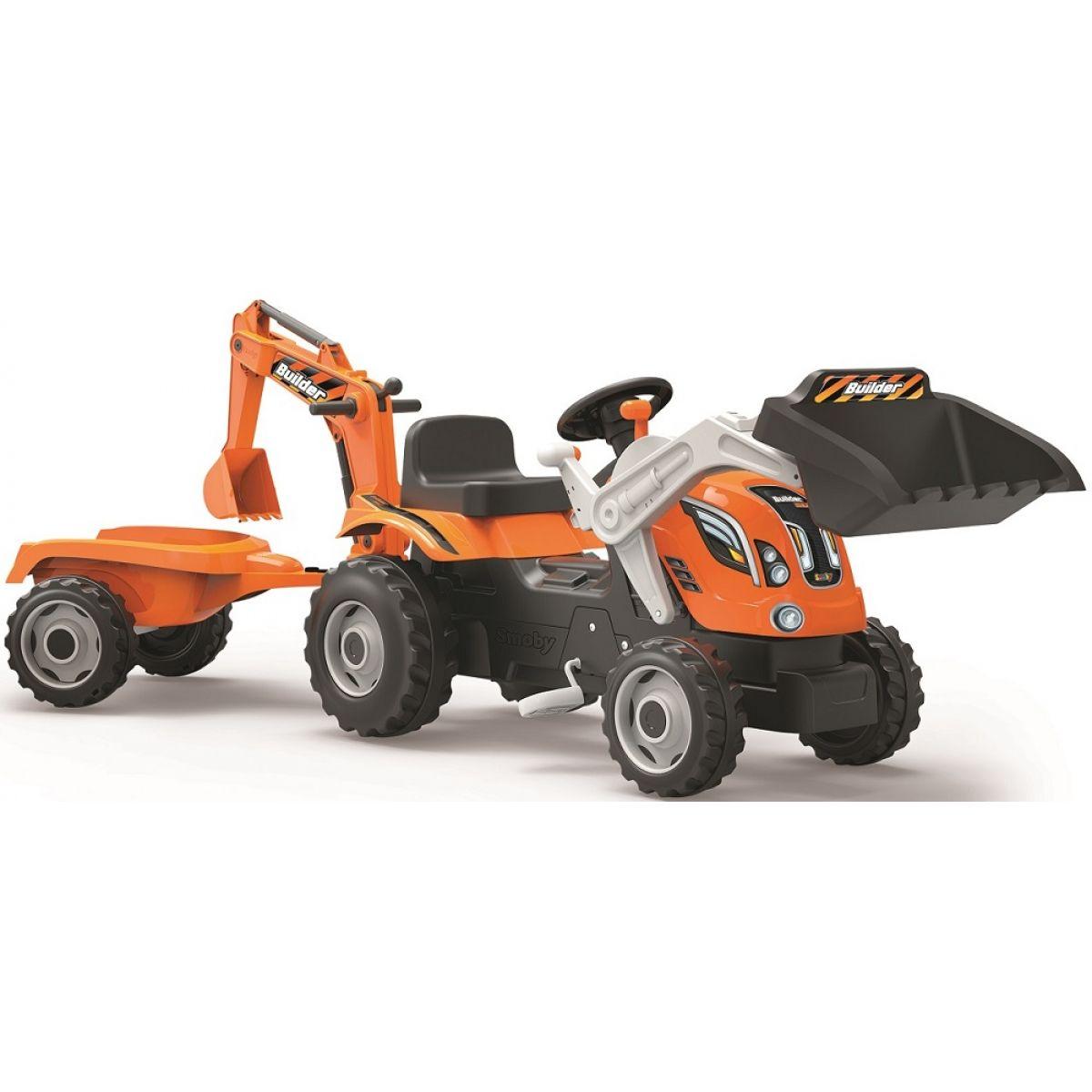 Smoby Šliapací traktor Builder Max s bagrom a vozíkom oranžový