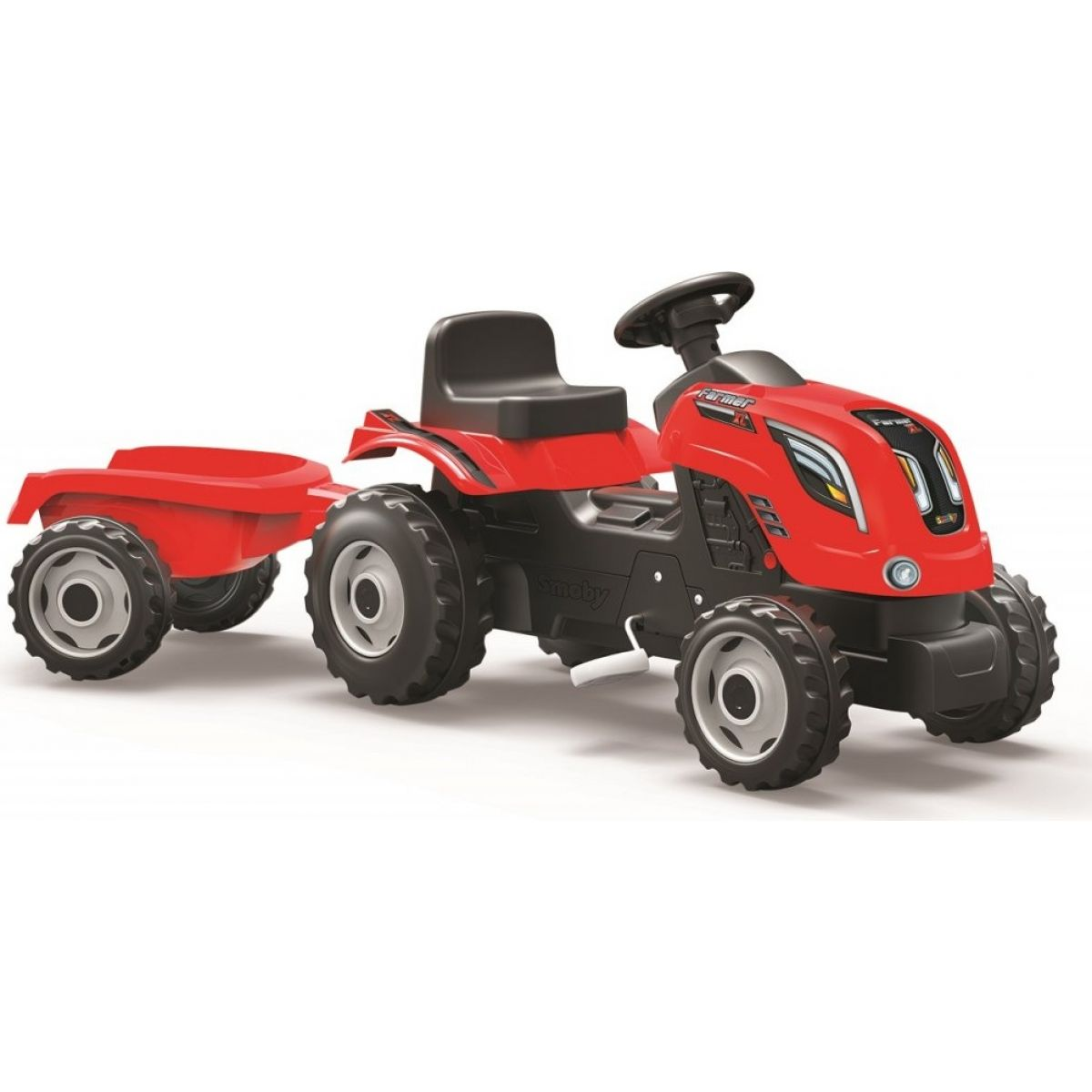 Smoby Šliapací traktor Farmer XL červený s vozíkom