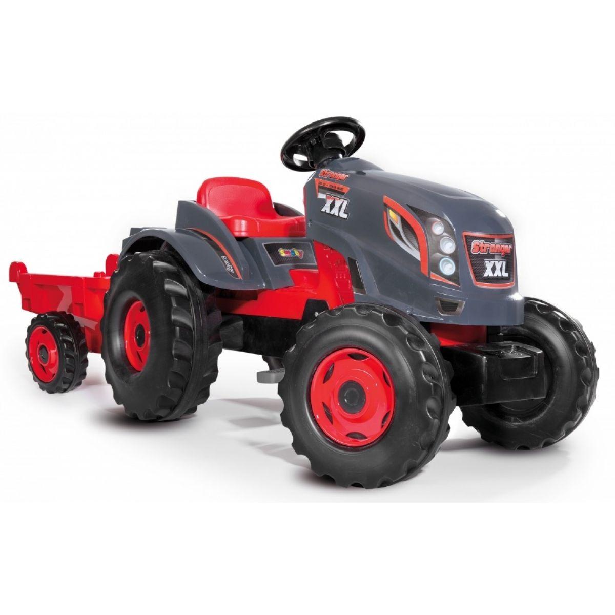 Smoby Traktor pre deti šliapací Stronger XXL s prívesom šedo-červený