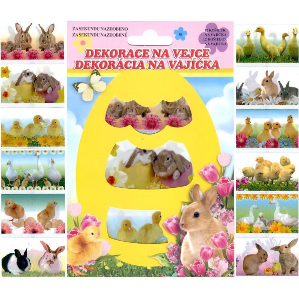 Zmršťovacia dekorácie na vajcia živá zvieratká, 12ks v balení