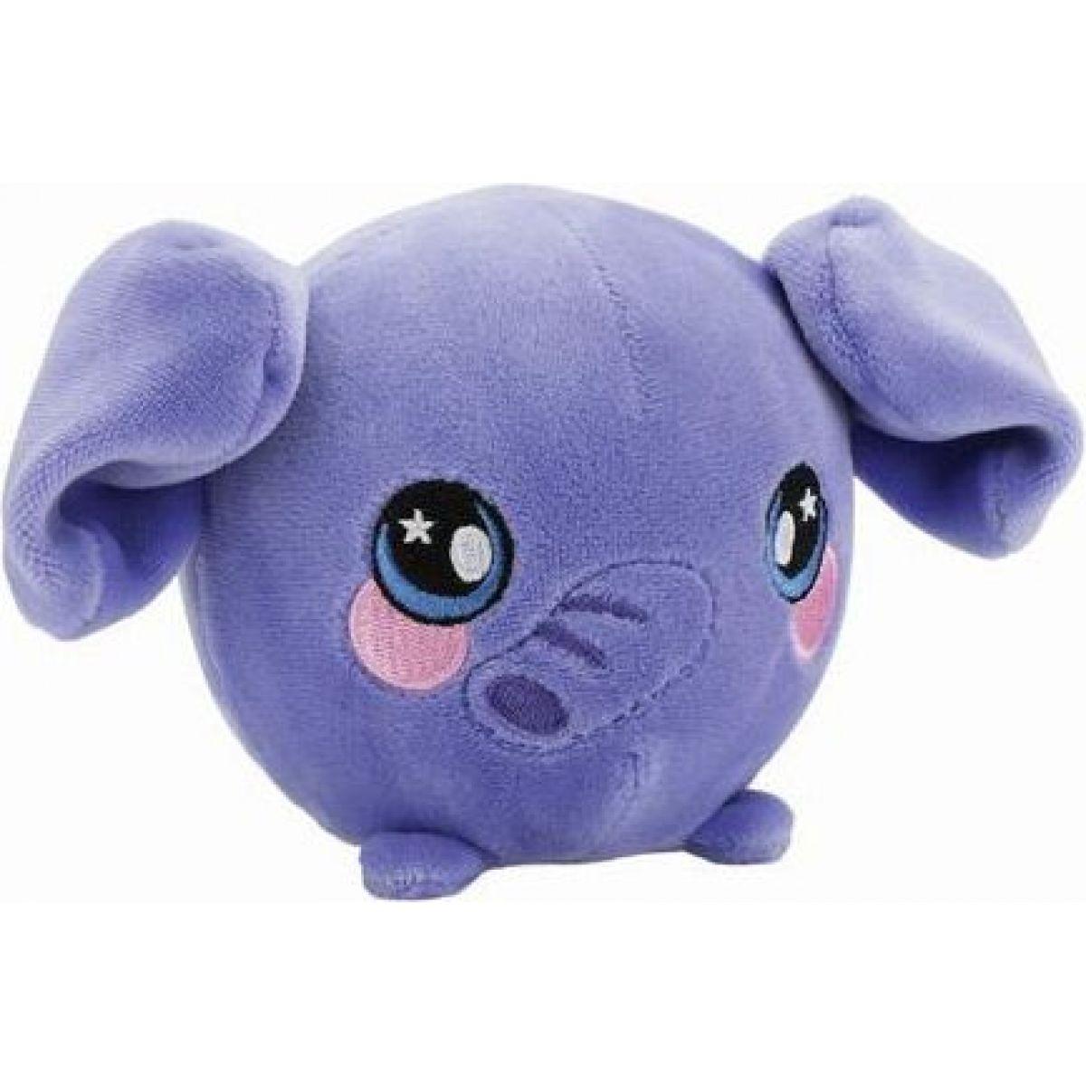 Squeezamals mäkké plyšové zvieratko 9 cm Slon fialový