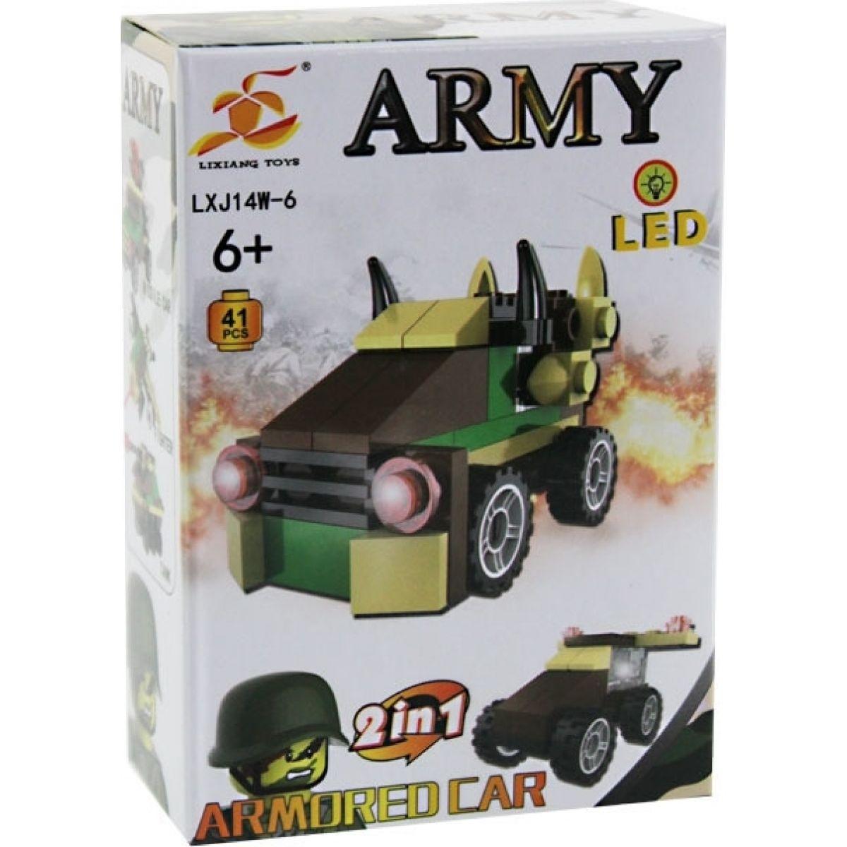 Stavebnica Armáda s LED kockou 2v1 - Armored Car