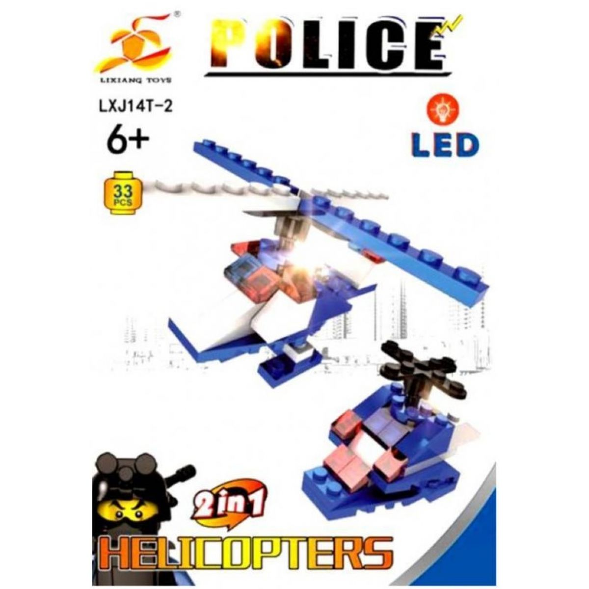 Epee Stavebnica Polícia s LED kockou 2v1 Helicopters