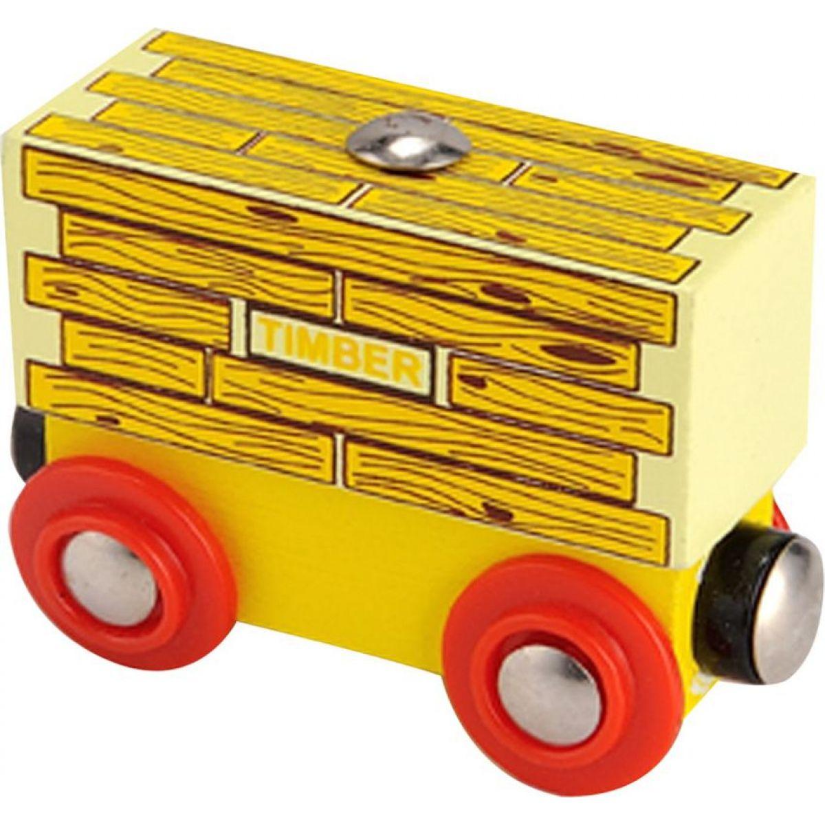 nákladní vagonek se dřevem