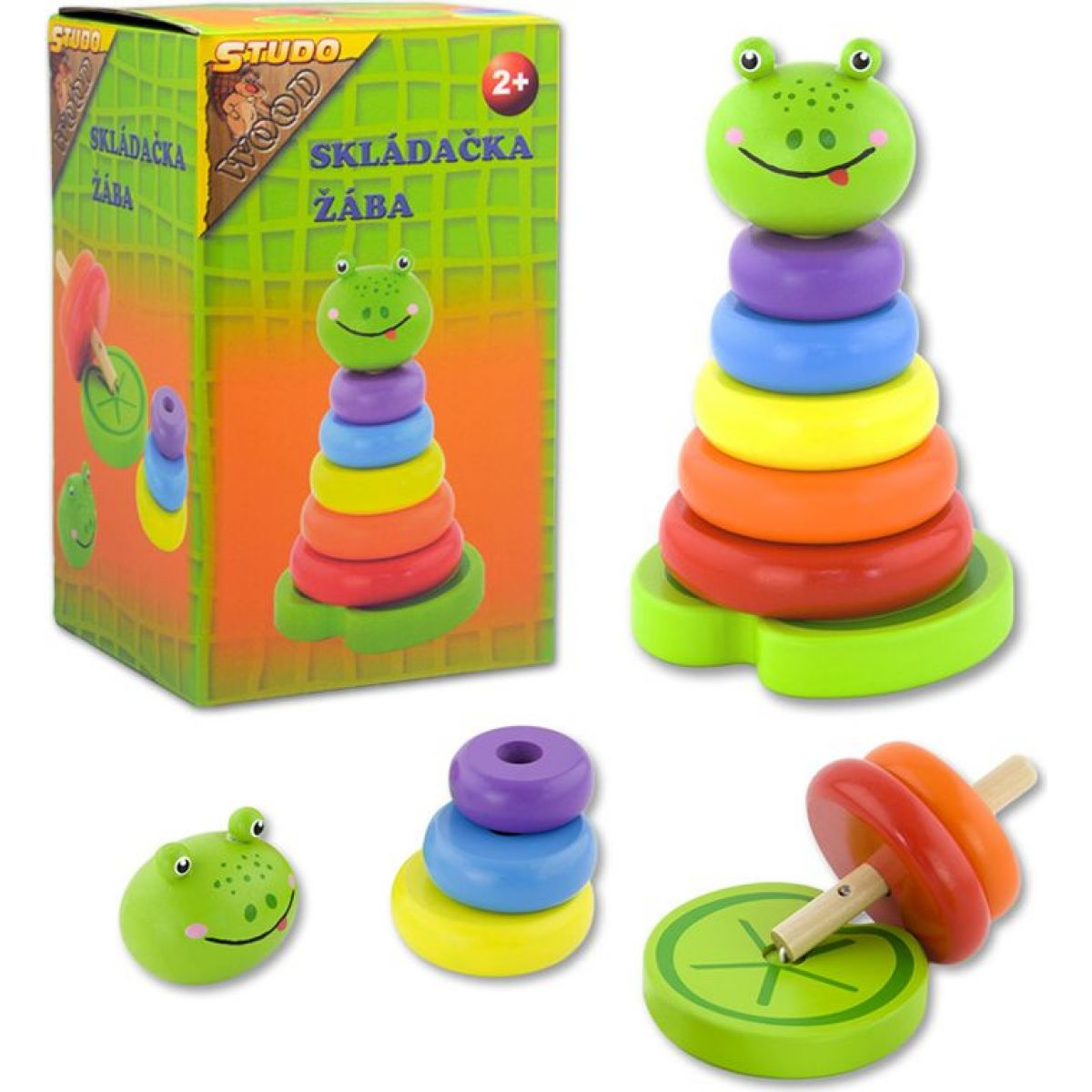 HM Studio Skládačka barevné kroužky žába