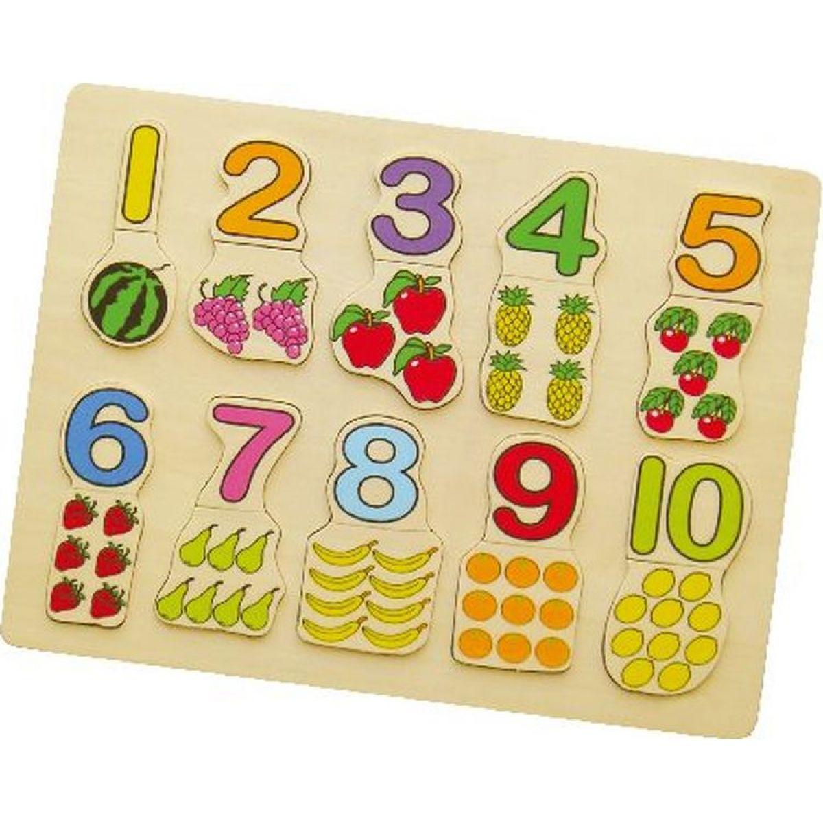 Studo Wood Drevené puzzle Počítanie s ovocím 20 dielikov