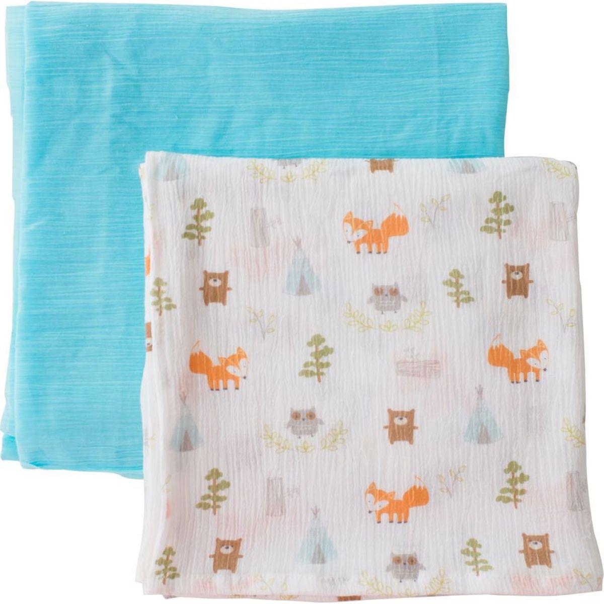 Summer Infant SwaddleMe mušelínová prikrývka 2ks modrá lesný motív