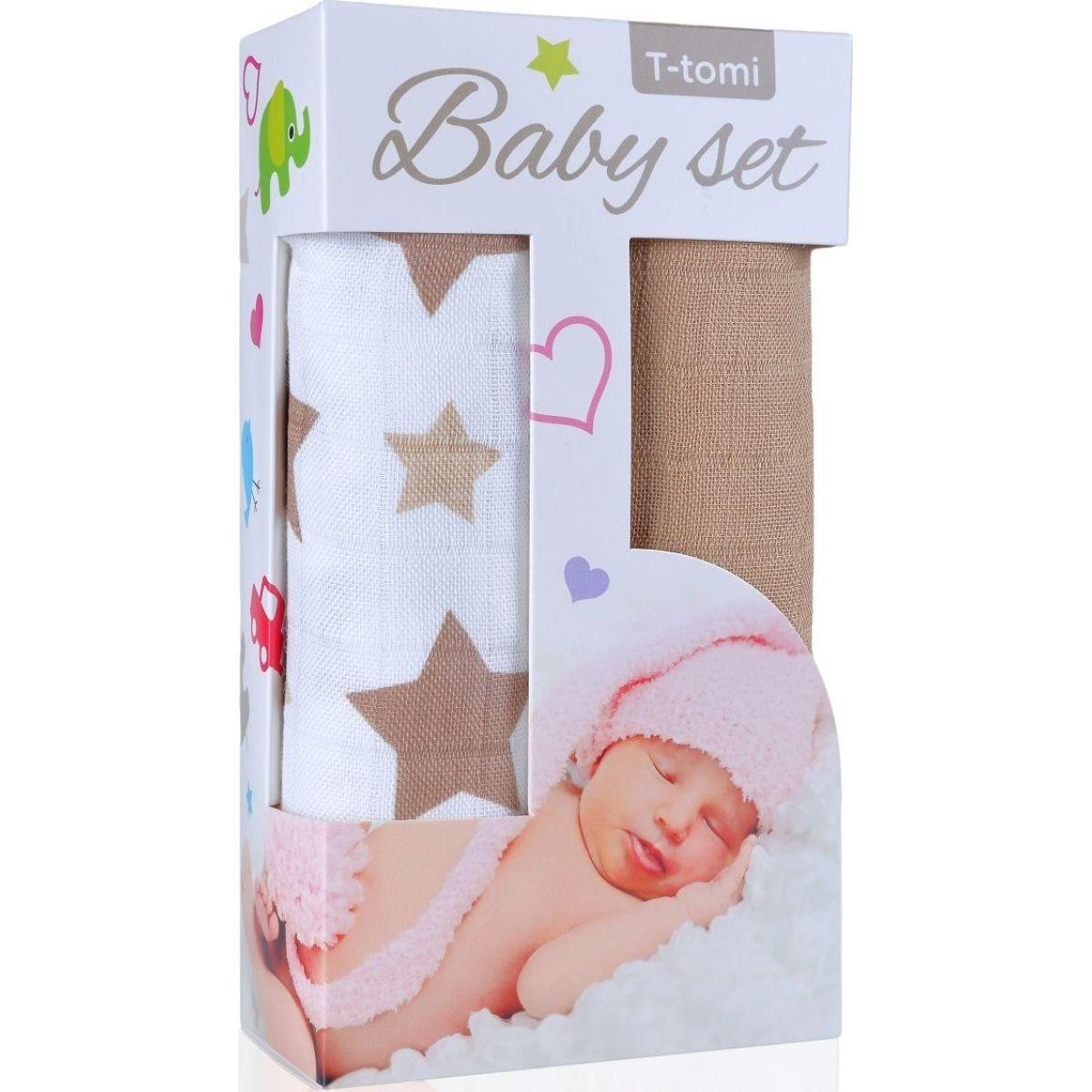 T-tomi Baby set béžové hvězdičky a Bambusová osuška béžová